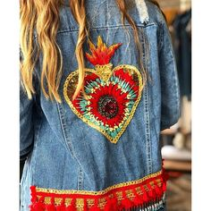 Denim Jacket Patches, Jean Crafts, Blue Jeans, 1, Embroidery, Jackets, Ideas, Fashion, Embroidery Hearts