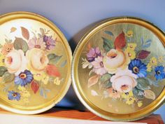 Floral Trays  Made in Italy  Round Gold Pair of by LorettasCache, $14.50