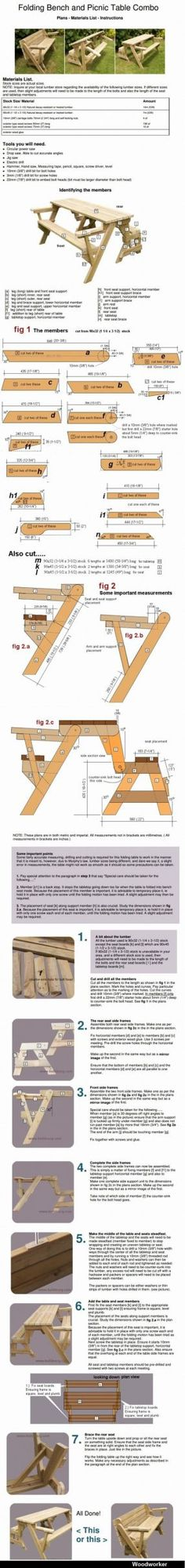 Folding Bench and Picnic Table Combo. Complete plans. Wooden chair plan - CLICK TO ENLARGE