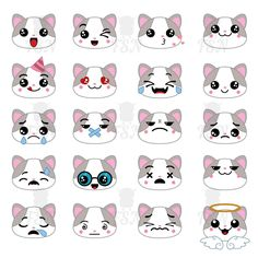 Set of cute cat emoticons. Smile icon set.  Vector illustration. Digital Vector Clip art. Emoticons. High Resolution. by FairyShopArtist on Etsy