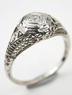 1350 Antique Filigree And Diamond Bridal Rings