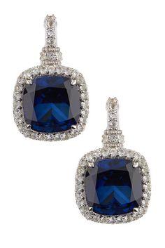 Cushion Cut Blue Corundum Drop Earrings