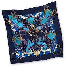 """L'Instruction du Roy - Navy Blue  Silk twill scarf, hand rolled, 36"""" x 36"""""""