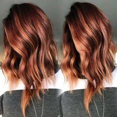Oct 2019 - [tps_header]Balayage isn't a specific color or look, but rather the actual technique that stylists use to apply highlights. This technique looks like natural sun-kissed highlights throughout the hair. Balayage is the . Hair Color Auburn, Ombre Hair Color, Cool Hair Color, Brown Hair Colors, Red Highlights In Brown Hair, Fall Auburn Hair, Brown To Red Hair, Short Auburn Hair, Auburn Hair With Highlights