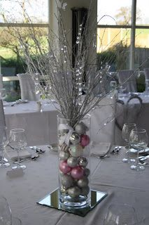 The Blossom Tree: December 2010 Christmas Decorations For The Home, Christmas Table Settings, Christmas Party Decorations, Christmas Tablescapes, Christmas Candles, Christmas Centerpieces, Winter Wonderland Centerpieces, Holiday Decor, Silver Christmas