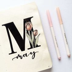 Bullet journal monthly cover page, May cover page, hand lettering, tulip drawing. Bullet journal m Bullet Journal Month Cover, Bullet Journal First Page, Self Care Bullet Journal, Bullet Journal 2020, Bullet Journal Notebook, Bullet Journal Themes, Bullet Journal Spread, Bullet Journal Inspo, Bullet Journal Layout