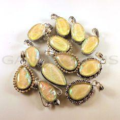 Valentine Gift ! 100 PCs Australian Opal Gemstone Silver Plated Pendant Jewelry  #Gajrajgems92_9 #Pendant