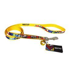 Guia de Nylon - Romero Britto - Media - Amarela - MeuAmigoPet.com.br #petshop #cachorro #cão #meuamigopet