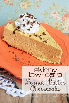 Low carb - low sugar - Skinny Low Carb Peanut Butter Cheesecake - Virtually sugar free as well, this cheesecake will ROCK your socks off! Who knew you could lose weight eating peanut butter cheesecake? Homemade Cheesecake, Peanut Butter Cheesecake, Low Carb Cheesecake, Trim Healthy Mama Cheesecake, Cheesecake Recipes, Skinny Cheesecake, Sugar Free Cheesecake, Cheesecake Desserts, Sugar Free Desserts