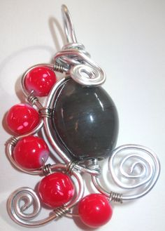 Triangular+Silver+Sprial+Wire+Wrapped+Red+and+Gray+by+Aquaiguana,+$15.00