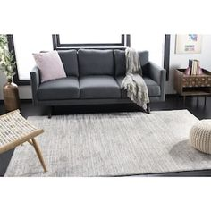 Williston Forge Mainor Cream/Gray Area Rug Rug Size: Rectangle x Living Room Area Rugs, Living Room Sectional, Living Room Grey, Room Rugs, Living Rooms, Dark Grey Sectional, Dark Couch, Beige Couch, Charcoal Couch
