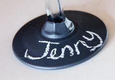 bridal shower decoration, chalk board wine glasses, chalkboard glasses, chalkboard wine glasses