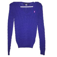 Ralph Lauren sport v neck sweater Size small. Never wore it. Royal blue color w pink polo logo. Cable knit sweater. Long sleeved. Ralph Lauren Sweaters V-Necks