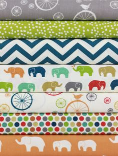 """Fabricworm Custom Bundle, ORGANIC, Elephant Party in FAT QUARTERS 7 Total  Each Fat Quarter�measures: ~18"""" x 21/22""""  You will receive a Fat Quarter of each of the following:                                                                                                                                                                                                                                                                                                                     ..."""