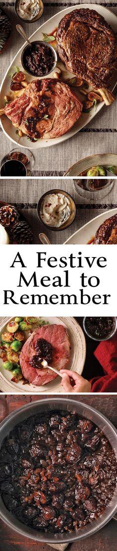 Create a new holiday tradition with these recipes for Reverse-Seared Prime Rib Roast, Reverse-Seared Chateaubriand, Horseradish Cream and Figgie Onion Jam from Omaha Steaks. #primerib #roast #ribeye #holiday #recipe #omahasteaks #fortheloveofsteak #ourbeefisbetter #horseradish #onion #jam #chateaubriand #reversesear #recipeideas #familyfood #christmasdinner #holidaydinner