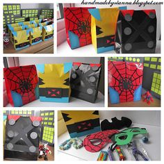 Hand Made By Rianna: Super Hero Party: The finished result! 5th Birthday Party Ideas, Boy Birthday, Superhero Party Bags, Party Fiesta, Avengers Birthday, Dragon Party, Halloween Projects, Party Time, Wrapping Ideas