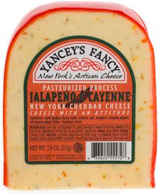 Jalapeno & Cayenne Cheddar-  Hot n' Spicy combines with aged cheddar for an award winning combo with just the right amount of heat.