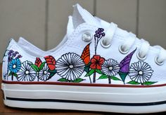 Custom hand painted flowers on low top Converse by BStreetShoes