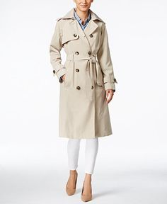 Sale $129.99 London Fog Water-Resistant Double-Breasted Long Trench Coat - Coats - Women - Macy's