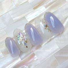 Colored Acrylic Nails, Cute Acrylic Nails, Gel Nails, Elegant Nails, Stylish Nails, Nail Polish Designs, Nail Art Designs, Korean Nail Art, Korean Nails