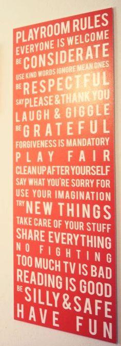 Playroom rules sign