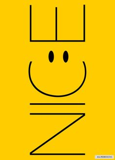 "A YELLOW POSTER THAT READS ""NICE"" WITH A SMILE."