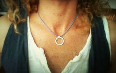 Minimalist jewelry Necklace with sterling silver circle by bluehamer on Etsy