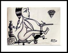 SuperTanker Girl PInterest Drawing , Painting Fashion Girl Black White