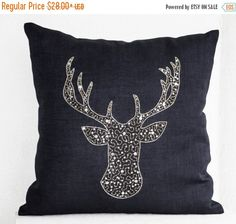 Deer Pillow cover -Stag embroidered in gold silver sequin -Linen pillows -Navy blue pillows -Navy pillows- Christmas pillows Gift - DIY Decor Ideas Navy Blue Pillows, Gold Pillows, Linen Pillows, Decorative Throw Pillows, Bed Linen, Accent Pillows, Blue Christmas Decor, Silver Christmas, Christmas Pillow