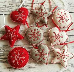 SET of 9 Christmas ornaments, Felt Red White Grey Christmas decorations, Embroidered ornaments, Grey Heart decor Scandinavian Christmas Ornaments, Handmade Christmas Decorations, Felt Decorations, Felt Christmas Ornaments, Christmas Sewing, Christmas Embroidery, Christmas Crafts, Christmas Projects, Holiday Crafts