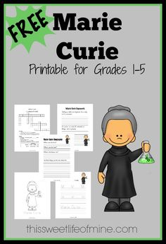 The third installment for Women's History Month is a Marie Curie printable pack for grades You'll find writing prompts, copywork, puzzles, and more. Social Studies Notebook, Marie Curie, Thinking Day, Reading Strategies, Women In History, Science Activities, France, First Grade, Lesson Plans