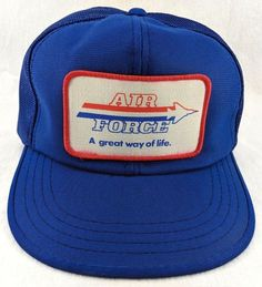 Details about Vintage US Air Force Mesh Snapback Hat Cap Blue Large Patch  80s Military c23840dad