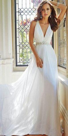ca06a048cc4 Empire V-neck Court Trains Sleeveless Chiffon Beach Wedding Dresses ...