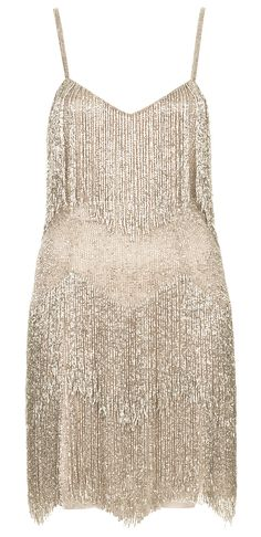 Topshop Vintage Inspired Beaded Flapper Dress By Kate Moss For Silver