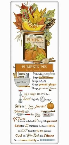 The true workhorse of any kitchen; the flour sack dish towel. Designed by Mary Lake Thompson, featuring a recipe for yummy Thanksgiving Pumpkin Pie.