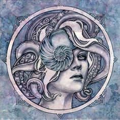 Kelly McKernan is an artist and illustrator specializing in imaginative realism and pop culture watercolor paintings focusing on the female form and inner worlds. Face Art, Animal Art, Artist Inspiration, Illustration, Botanical Illustration, Drawings, Surreal Artwork, Mermaid Art, Portrait