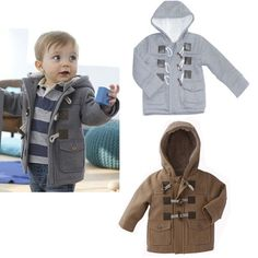 1pcs Baby Boys Toddler Winter Warm Fleece Hoodies Coat Jacket Gray Brown | eBay