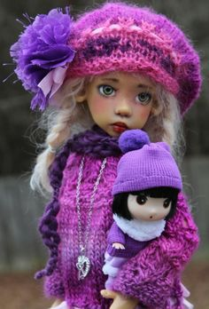 HAND KNIT SWEATER DRESS + DOLLY FOR MSD KAYE WIGGS DOLL DOLLSTOWN DT7 BY BARBARA