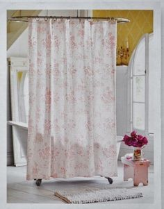 Pink Floral Toile Shower Curtain. Simply Shabby Chic by. Simply Shabby Chic is a mix of. From her charming Bath Collection, here is the retired. Tonal pink floral on white. 100% cotton.