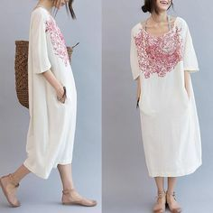 Red Embroidery White Long Dress Cotton Linen Causal Clothes Q3101