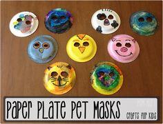 Paper plate animal masks. Awesome rainy day/bored jar activity for the kids. #craftforkids #boredjar  sc 1 st  Pinterest & Handmade Animal Masks~ Make Your Own! | Animal masks Masking and ...