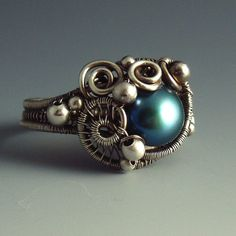 Turquoise Pearl and Sterling Silver Sculpted Siren Ring
