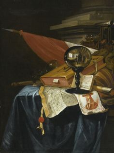 Vincent Laurensz. van der Vinne I HAARLEM 1628 - 1702 A VANITAS STILL LIFE WITH A CRYSTAL BALL REFLECTING AN IMAGE OF THE ARTIST AT HIS EASEL, A BOOK, A LUTE, A FLAG, A CHIPPED ROEMER, A FLUTE, A BATON, AN HOURGLASS, AN OPEN BOOK SHOWING A VIEW OF ANTWERP, AN ENGRAVED PORTRAIT OF KING CHARLES I, AND A CHARTER WITH A SEAL ON A PARTIALLY DRAPED TABLE BEFORE A PILLAR