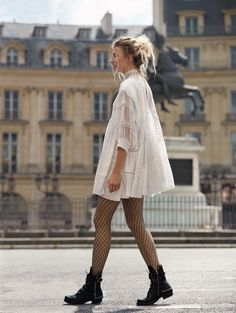 Free People Heartbreaker Mini Dress and Libby Fishnet Tight. A.S. 98 Lucas Lace Up Boot.