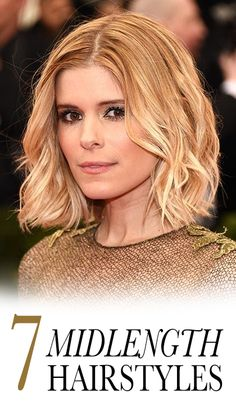 "7 Easy Ways to Style Midlength Hair:  Ask pretty much any celebrity hairstylist, and they'll tell you the long bob (a.k.a. the lob) is the chicest haircut around. In addition to throwing around the word ""cool"" at least twice, they'll also say it's because the hairstyle is versatile, easy to style, and timeless. Here, our seven favorite ways to wear it, including Kate Mara's curled hair look, above. 