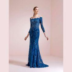 19d0d4505683 Abiti da cerimonia Nicole Spose 2017 - Abito da cerimonia blu con maniche