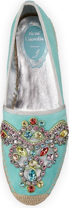Rene Caovilla Crystal-Embellished Suede Espadrille | House of Beccaria~