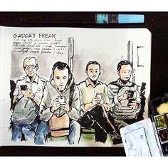Sketsa di transportasi umum, penuh guncangan tapi ga ngaruh buat Sketcher senior ini, regram from @osoygeboy