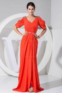Elegant V-neck short sleeve floor-length chiffon evening dress