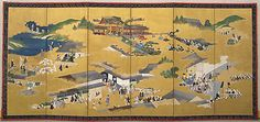 Daimyo Procession from Yûshô-in. ca. 1800. Japan. Six-panel folding screen; ink, color, and gold on gilded paper